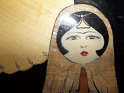 Vintage PERSIAN Inlaid Wood Picture Wall Plaque PRINCESS Birds Middle East