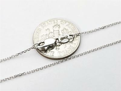 """10K 18"""" Solid White Gold Thin Dainty CABLE Link Necklace Chain .8mm 10K Gold"""