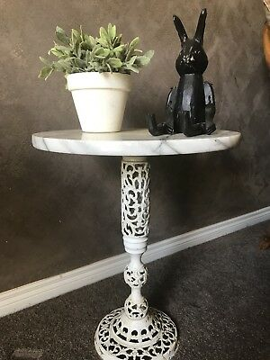 Vintage Retro Marble Brass Filigree Small Side Table French Provincial 🐇
