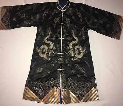Vintage Antique Silk Asian Chinese  Kimono w  Embroidered Dragon ROBE  Nice !!