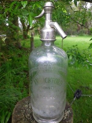 A.m.bickford & Sons Adelaide Clear Soda Syphon Bottle