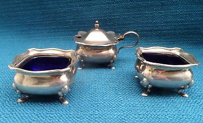 Vintage 3 piece Cruet Set English Sterling Silver Condiment Salts Hallmarked