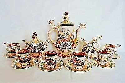 Capodimonte Coffee Set 15 Pieces 24k Gold Lined Cups Dragon Head Handles