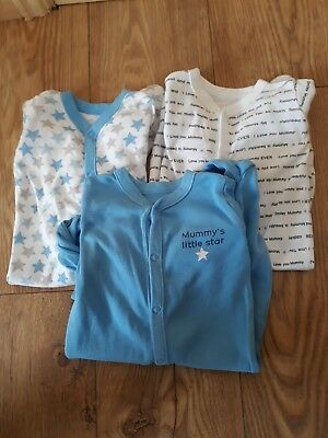 pack of 3 blue baby boys cotton babygrows size 3-6 months
