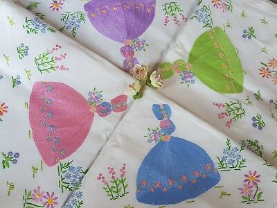 RARE GORGEOUS Vintage Hand Embroidered Linen Tablecloth with Crinoline Ladies
