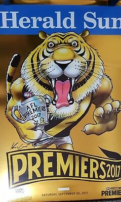 AFL Richmond Tigers Limited Edition 855 of 1000 Mark Knight Poster GOLD FOIL