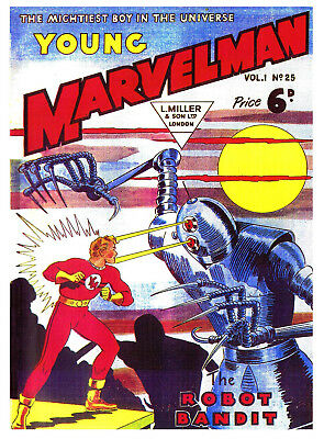 YOUNG MARVELMAN No.25 (No.1)  -  BRITISH 6d .  -   Facsimile Comic