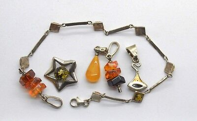 Antiquarian silver Jewelry lot with amber gemstones. 20 Century