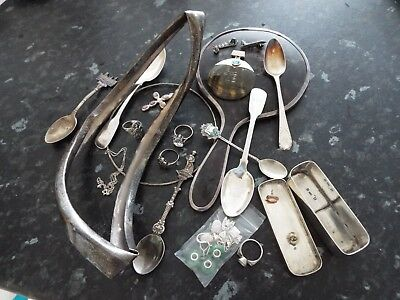 Job Lot Mixed Collection Scrap Silver: Spoons Box Rim Rings Mirror 400 g approx.