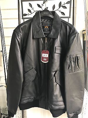 8fb5a67b8289 Alpha Industries Cwu 45P Leather Flight Bomber Jacket Mlc21012P1 Black Mens  3Xl