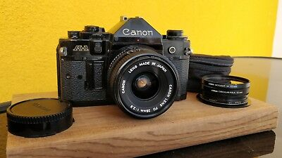 Appareil Photo Canon A-1 + Objectif FD 28 mm f 1:2.8 + Fitres Cokin