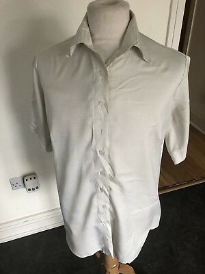 VINTAGE 80's WHITE BAGGY PATTERN SILKY RETRO SHIRT MEDIUM