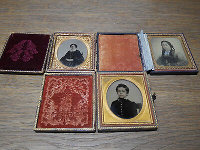photographs lot of 3 daguerreotype with cases