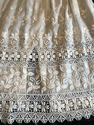 Antique Edwardian Petticoat Heavily Embroidered Lace White Cotton Lawn Handsewn