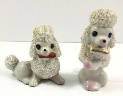 Vintage White Spaghetti Poodle Dog Figurines Mid Century 1950s Made in Japan