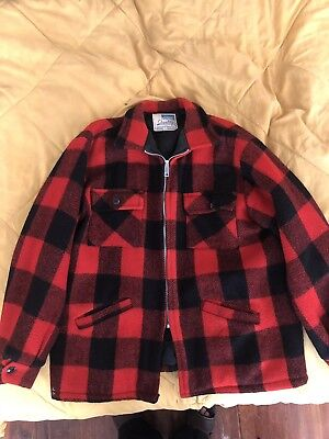 Vintage MONTGOMERY WARD WOOL Jacket Coat Red Plaid 1960s 1970s L 40-42