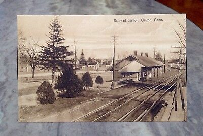 Postcard~Railroad Station~Clinton Connecticut CT~Very Early & Excellent Cond~NR