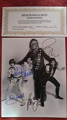 Star wars autograph signed by 4 Hamill Fisher Ford Mayhew coa 10x8