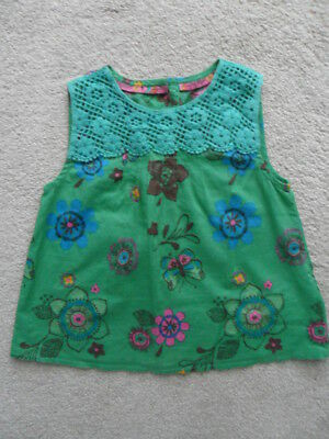 M&s Autograph Green Floral Butterfly Crochet Tunic Smock Top Dress 18-24 Mths