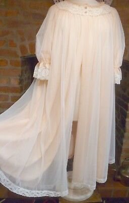 Vtg St Michael 1960S Swing Back Peach 2 Layer Bri Nylon Negligee Robe Size 12-16