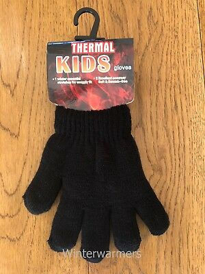 Kids Thermal Gloves Black Boys Girls Thermal Gloves Winter Warm Everyday Glove