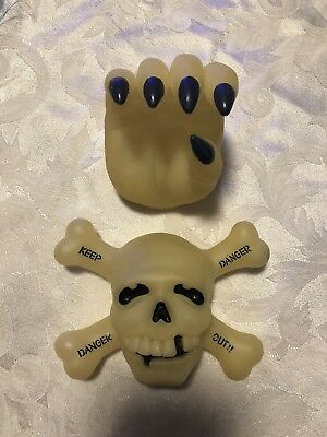 Door Knob Cover Lot Vintage Halloween Glow in the Dark Skeleton Frankenstein Han