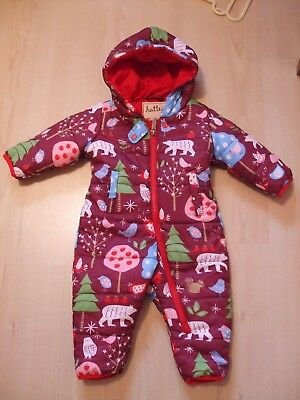 """Hatley Purple """"woodland"""" Theme Padded Hooded Snowsuit   Age 6 - 12  Months"""