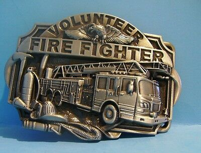 Volunteer Fire Fighter belt buckle with firetruck Free Shipping in USA