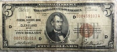 1929 $5 Federal Reserve Bank note - Cleveland -
