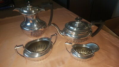 Large Heavy Old Sheffield Silver Plate Coffee And Teapot With Sugar Bowl,Creamer