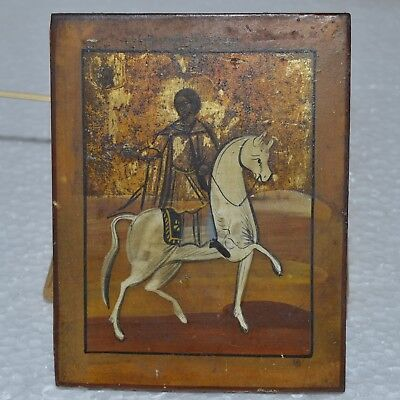 ORIGINAL Antique Icon 19th !!! Russian Orthodox Hand Painted Saint Tryfon Trifon
