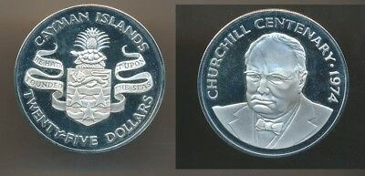 Cayman Isl 1974 Churchill Centenary $25, 1.15173oz LARGE Silver Face value A$40