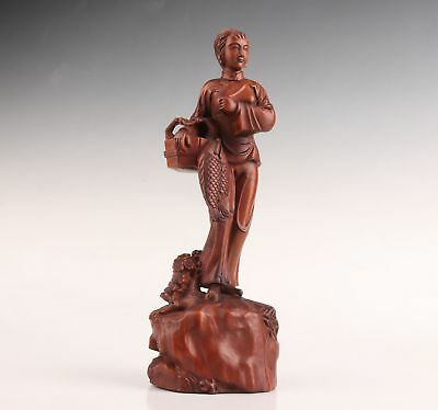 Hand-Carved Belle Old Chinese Boxwood Statue Only One Vintage Collection
