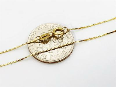 "10K 20"" Inches .5mm Solid Yellow Gold Classic Box Pendant Chain Necklace"