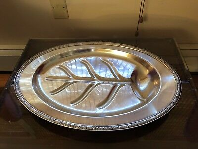 Rare Antique Ashby by Onieda large footed silver plate serving platter 3614-3
