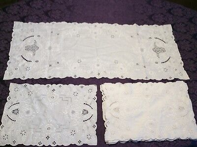 8 Antique/Vintage Placemats W Table Runner Cutwork Embroidered Linen LACE  WHITE