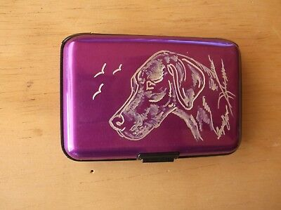 Vizsla- Hand engraved  Stainless Credit Card Wallet by Ingrid