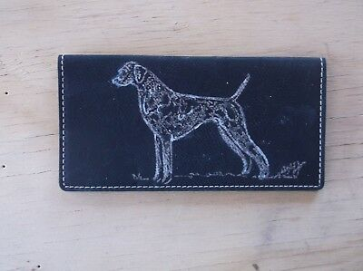 Vizsla- Hand Engraved Leatherette Check Book Cover by Ingrid Jonsson.