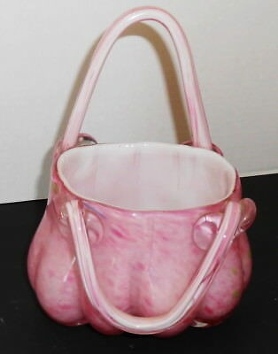 "Hand Blown Art Glass Purse Vase Grounded Bottom 8"" Tall 6"" Base Light Pink"