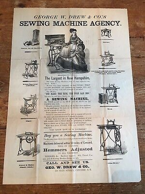 Exceptional Antique Sewing Machine Advertising Broadside Concord N.H.