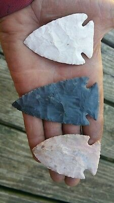 Three Flint Arrowheads
