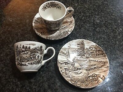 Ridgeway Ironstone 2 Tea Cups And Saucer Set
