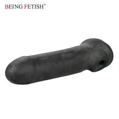 Reusable long condom Sheath Stimulate oxballs cum delay penis sleeve ribbed sex
