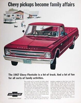 1967 CHEVROLET FLEETSIDE PICKUP Genuine Vintage Advertisement ~ A New Breed!