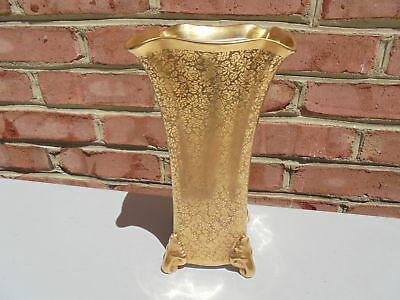 """Scarce Pickard China Allover Gold Encrusted Floral 4-Ftd Vase 9 1/4"""""""