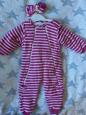 Gorgeous JoJo Maman Bebe Tog Sleepsuit With Booties And Removable Sleeves 6-12 M
