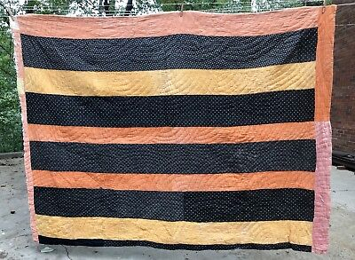 Primitive Handmade Black Orange Yellow Halloween/fall Quilt North Carolina