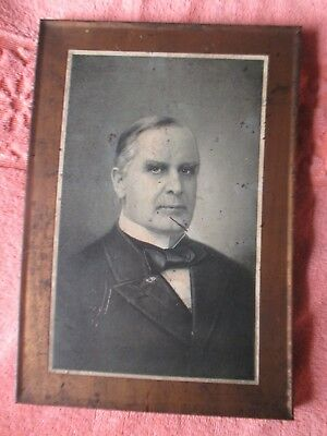1900 WILLIAM MCKINLEY Tin Lithograph Meek and Beach Co. Coshocton Ohio Sign