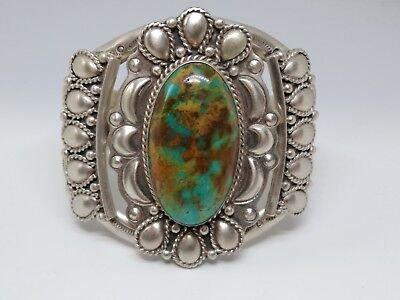 Southwestern Running Bear RB Sterling Silver Turquoise Large Cuff Bracelet