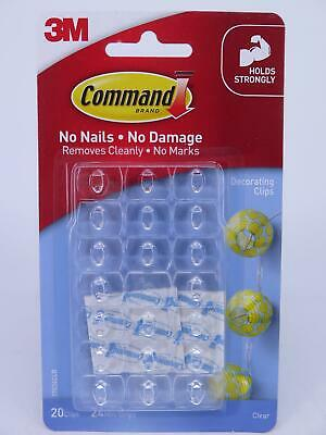 3M Command Clear Decorating Clips - 20PK 17026CLR Ideal for Xmas Lights